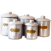 5 French Vintage Nesting Tin Canisters - Hammered Aluminum & Brass