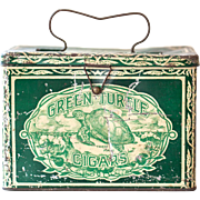 Early 1900s Green Turtle Cigars Lunch Pail or Tobacco Tin - Country Chic and Rustic Decor