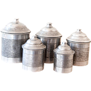 5 Vintage French Aluminum Nesting Canisters - Country and Farmhouse Decor