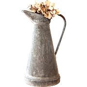 Vintage French Zinc Water Pitcher - Galvanized Steel Water Can - Medium Size