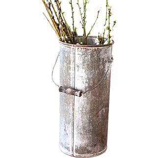 Vintage Galvanized Tall Florist Pail - Wooden Handle - Shabby Chic Flower Vase or Bucket