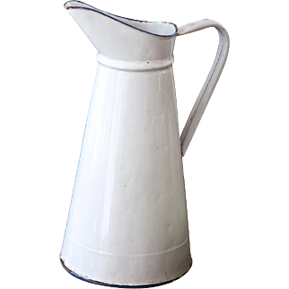 1940s Enamel French Enamel Water Pitcher - Country Chic White - Medium Size