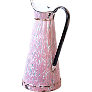 1940s Enamel French Enamel Water Pitcher - White and Pink Graniteware / Marbled