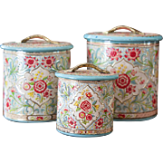 Pretty Vintage Tin Nesting Canisters - Set of 3 - Made in Holland - Turquoise, Pink and Gold - Chintz Pattern