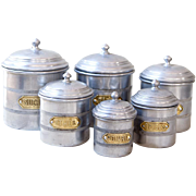 6 French Vintage Tin Canisters - Aluminum & Brass - Country Chic Decor