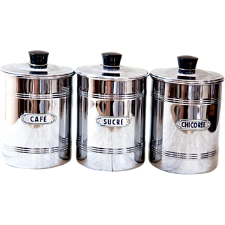 1950s French Chromed Copper Canisters with Bakelite Tops - Coffee Sugar Chicory - Midcentury Kitchen