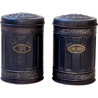 1950s French Kitchen Tin Cans - Coffee and Chicory - Black Tins - Industrial and Rustic Decor