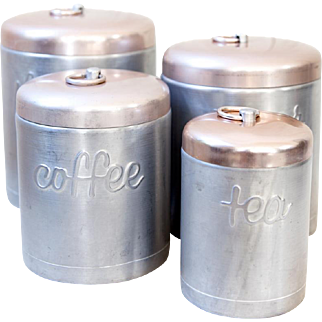 1960s Hostess Ware Nesting Canister Set of 4 - Kitchen Aluminum Tins With Pink Tops - Mid Century Kitchen Storage