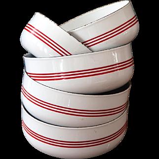 1950s French Enamel Bowls - Set of 5 - Shabby Chic Kitchen