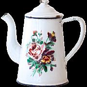 French Vintage Enamel Coffee Pot - 1920s Shabby Chic