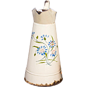 Beautiful Vintage French Large Enamel Pitcher / Jug / Can - Cream and Blue Cornflowers