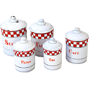 5 French Vintage Enamel Kitchen Nesting Canisters - Art Deco 1920s - Lustucru Checkered Pattern
