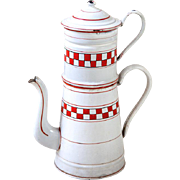 Vintage French XL Enamel Coffee Pot -Lustucru Checkered Pattern - Art Deco 1920s