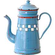 Vintage French Small Blue Enamel Coffee Pot - Lustucru Checkered Pattern - Art Deco 1920s