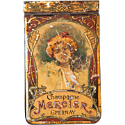 Rare: 1906 French Tin Embossed Small Notepad Holder - Champagne Mercier Epernay