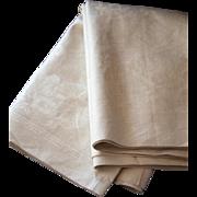 Vintage French Luxurious Linen Damask Napkins Fabric - 7.8 Yards or 12 Large Napkins - Art Nouveau Design