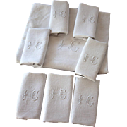Set of 12 Vintage French Damask Napkins and Tablecloth - Metis: Cotton and Linen - IC Monogram