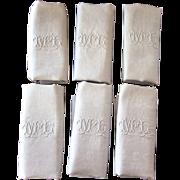 Set of 6 Vintage French Damask Napkins - Metis: Cotton and Linen - ML Monogram - French Elegance