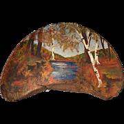 Large artist signed folk art painted fungus, New England scene
