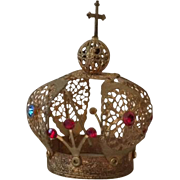 Vintage Italian gold filigree small santos crown, Infant of Prague corona