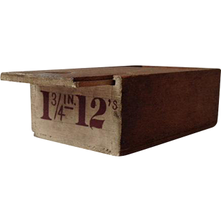 Vintage slide top handmade box, square nails and graphic numbers in old paint