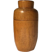Vintage treenware jar canister with blue paint