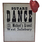 1933 poster advertising a Square Dance, Pennsylvania provenance