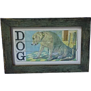 Turn of the century DOG puzzle pieces, framed