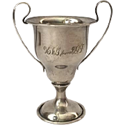 Miniature sterling loving cup trophy, monogrammed