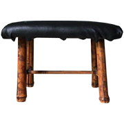 Small antique bamboo footstool, turn of the century