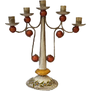 Vintage Mexican tin tole painted candelabra
