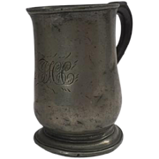 Pewter half pint mug with monogram