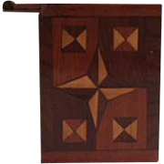 Folk art small slide top box with marquetry inlay