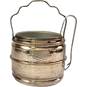 Vintage English hammered ice bucket with claw tongs