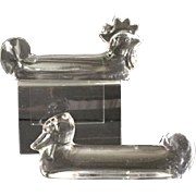 Vintage French Vannes Le Chatel crystal knife rests, rooster & duck