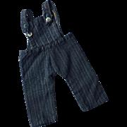Vintage blue denim doll overalls, Pennsylvania Dutch country find