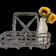 Vintage 8 bottle metal basket, milk bottle carrier