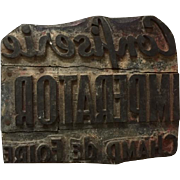 French advertising wood block stamp for a candy store, Confiserie