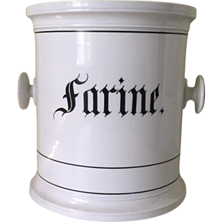 Oversized French porcelain canister, Farine
