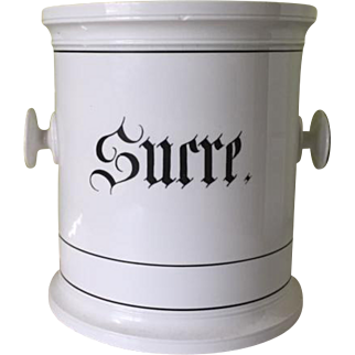 Oversized French porcelain canister, Sucre