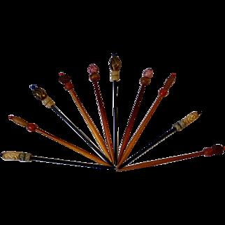 Vintage Asian hair sticks, 5 pair, exceptional