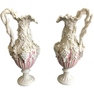 Antique English Parian Ewer Pitchers 1895