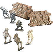 Toy Lead Soldier Mold and Six Lead Soldiers