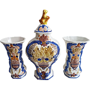 A very nice Dutch antique polychrome Delft rococo flower decorated garniture set, mid 18th century.