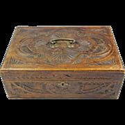Antique Dutch Art Nouveau folk art Frisian Carving box, Friese Kerfsnee casket, Ca. 1880-1900.