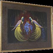 "Hermanus Rijk Scholten (1893-1941) Signed Dutch original pastel drawing ""Paradise Birds"""