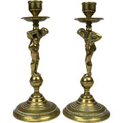 Antique set of two French candlesticks, Bronze candle holders, Mid 19th Century.