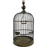 Large antique English brass bird cage, ca. 1898