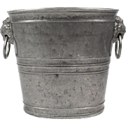 Antique German 1820 pewter Blockzinn champagne bucket, heavy wine cooler with rams heads