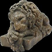 Hand Carved Stoneware antique Lion Sculpture - Antonio Canova style, Ca. 1800